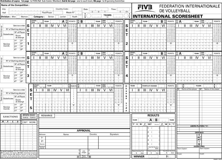 Official Volleyball Scoresheet