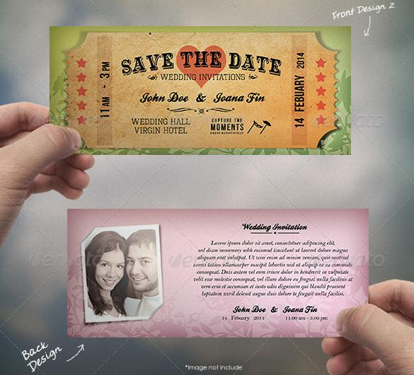 Old Ticket Type Wedding Card Design