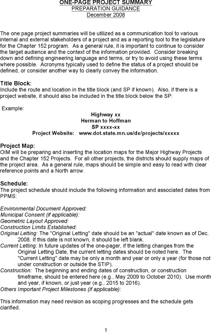 One Page Project Summary Template