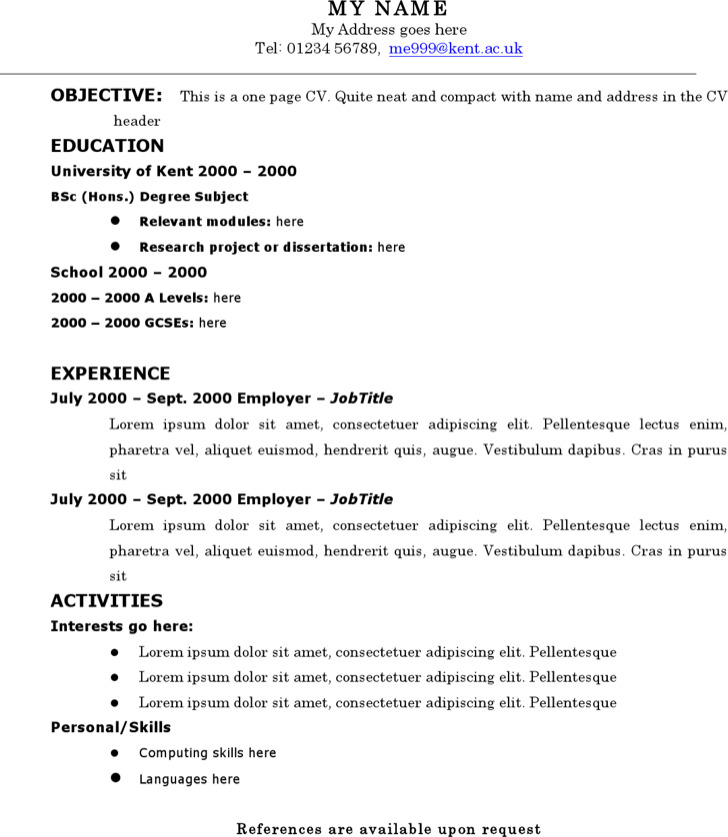 One Page Resume Template Free Download: 6+ Classic Resume Templates Free Download