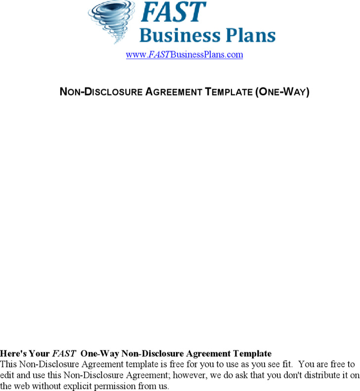One Way Non Disclosure Agreement Standard Template