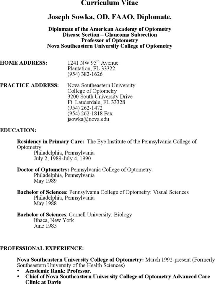 Optometrist Assistant Resume