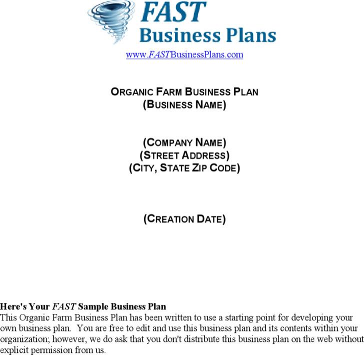 Organic Farm Business Plan