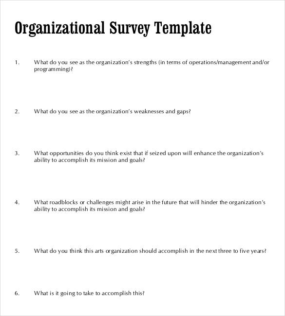 Organizational Survey Template Blank Format