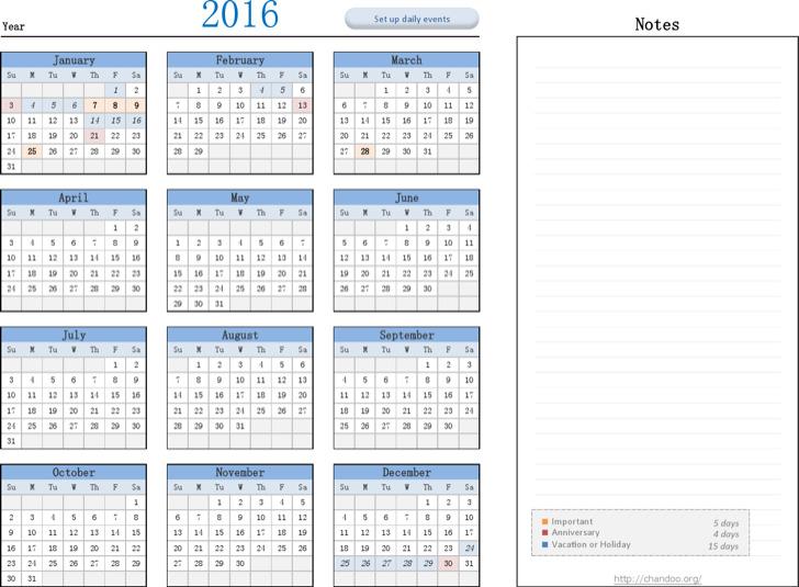Organizer Calendar Planner Template