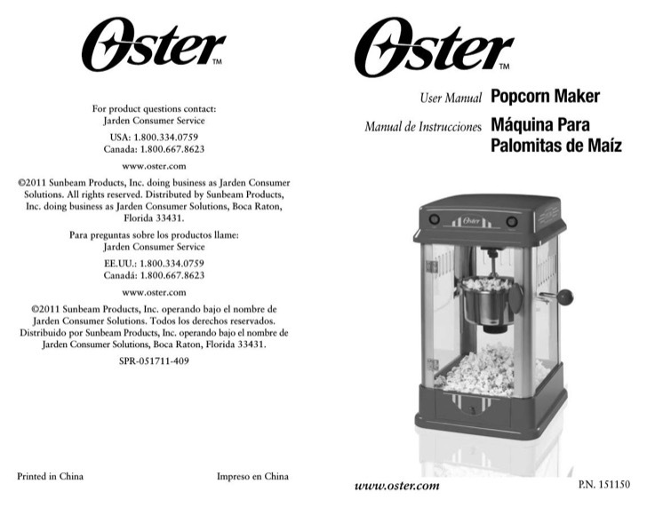 Oster Owners Manual Sample