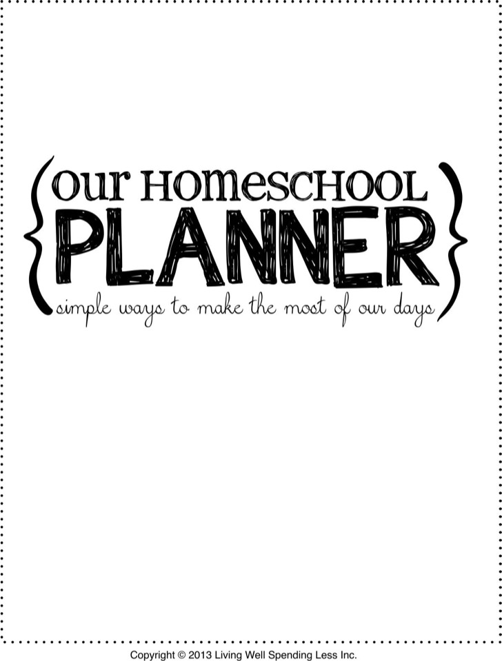 Our Home School Day Planner
