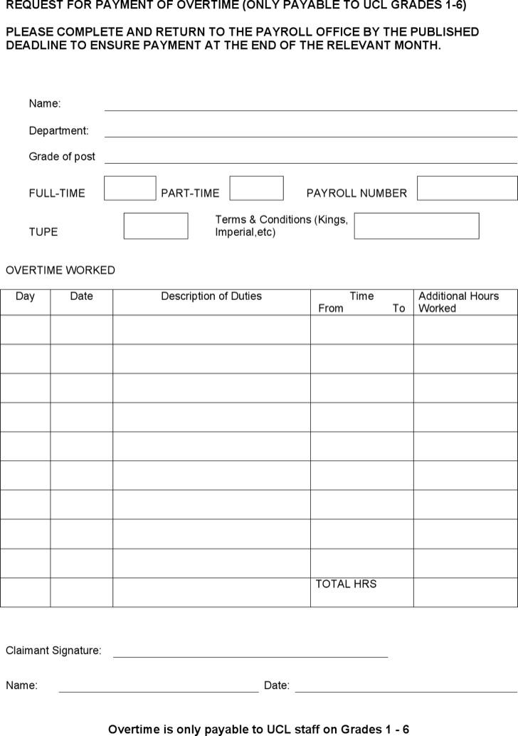 Overtime Sheet Template Download In Ms Word Format