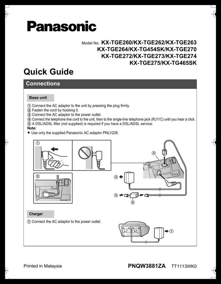 Panasonic Quick Start Guide Sample