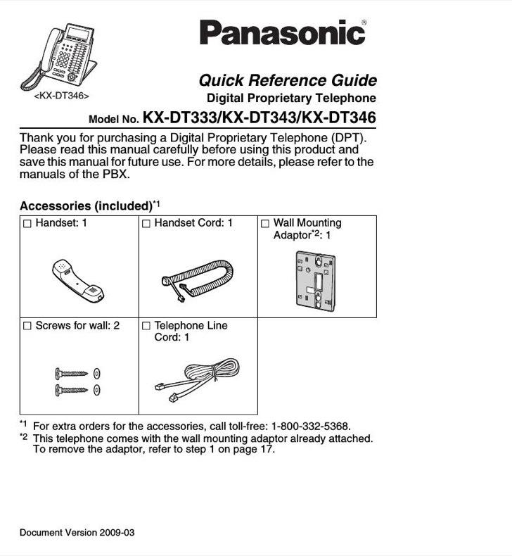 Panasonic Reference Guide Sample