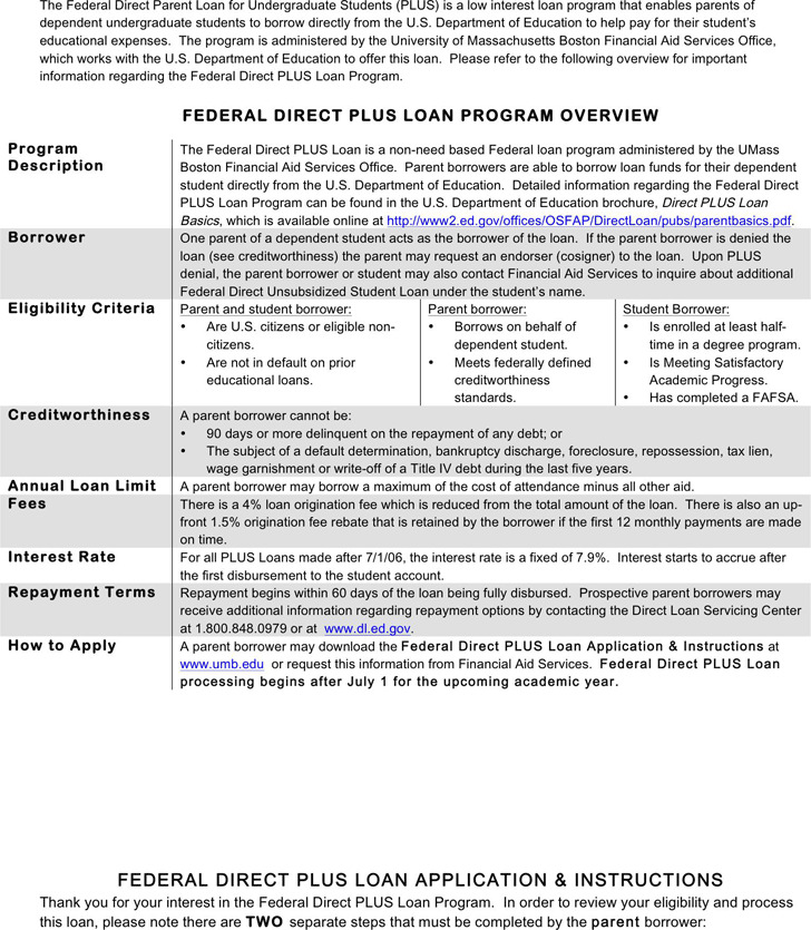 Parent Plus Loan Application Form 1