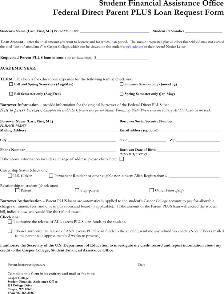 Parent Plus Loan Application Form 2