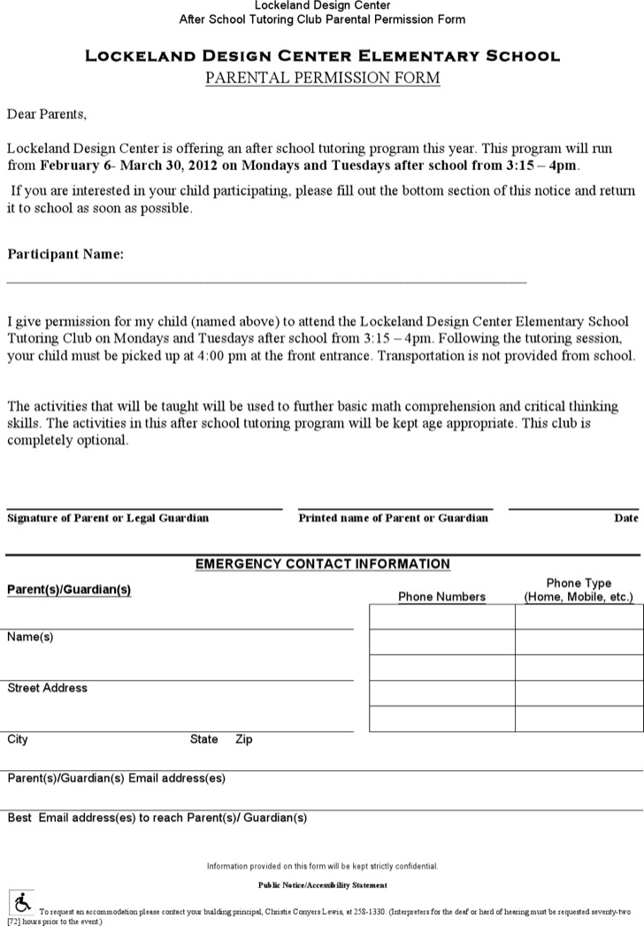 Parental Permission Slip Form Template Word Doc Editable