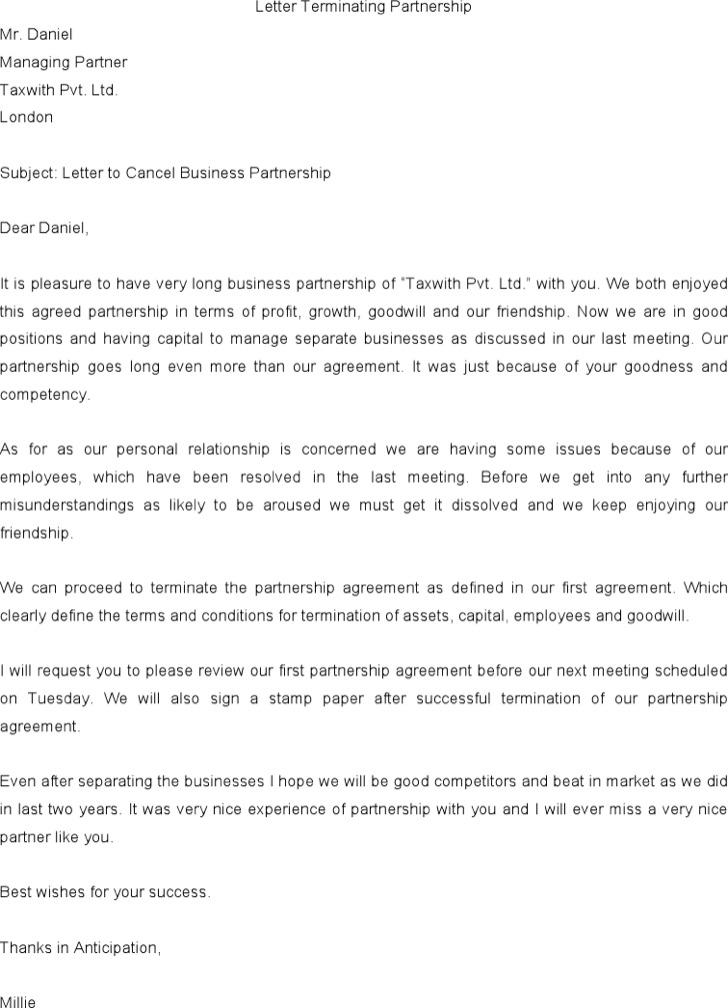 Partnership Termination Letter