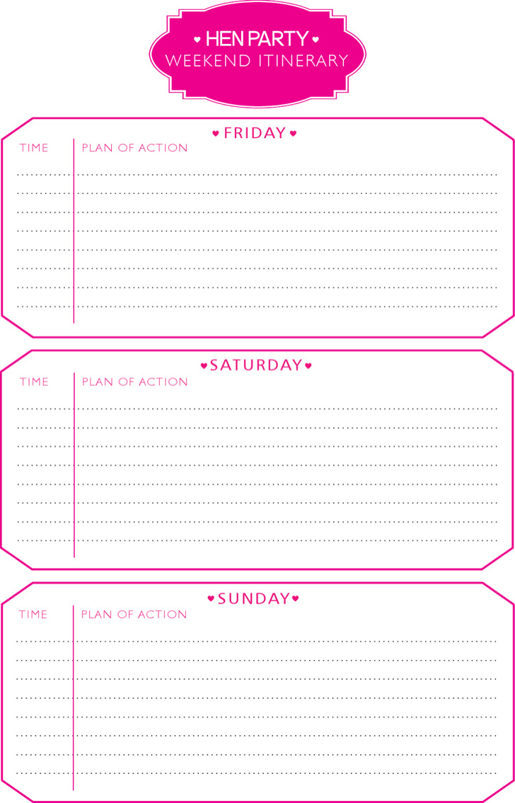 Party Weekend Itinerary Template