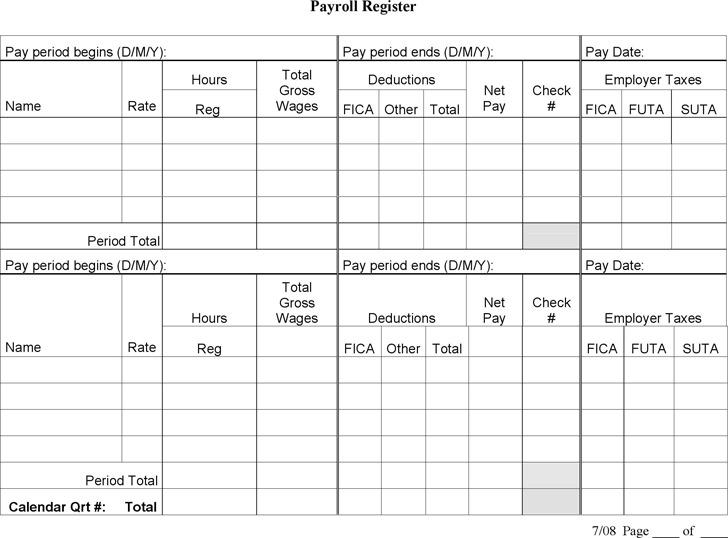 Payroll Register Template