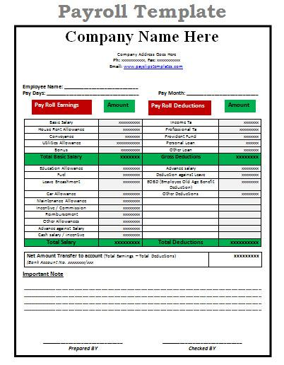 Payroll Report Template