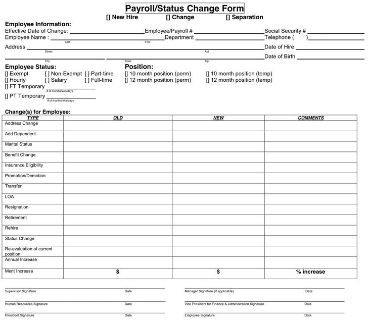 Payroll/Status Change Form