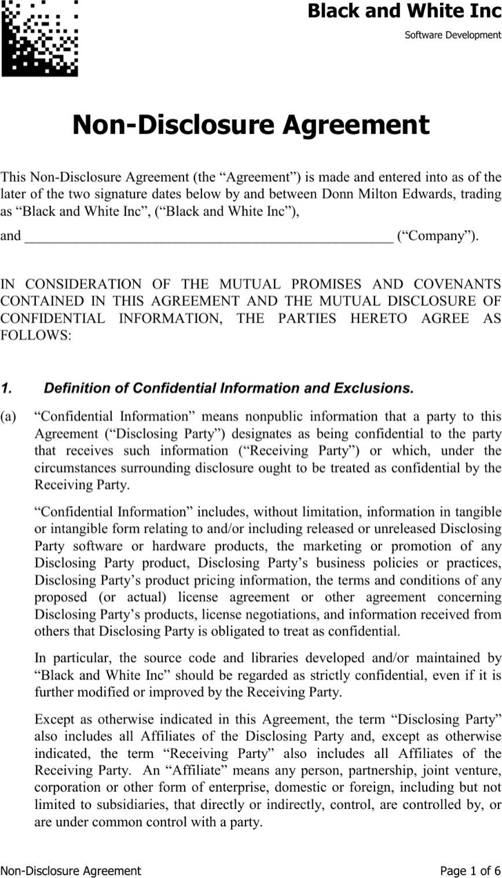 Pdf Document For Non Disclosure Agreement