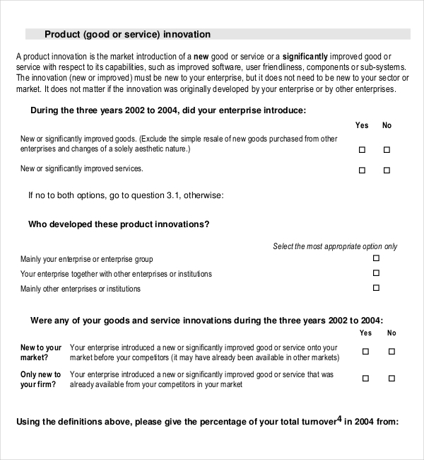 PDF Document for Product Innovation Survey Template