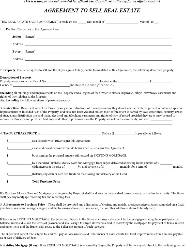 2 Pennsylvania Offer To Purchase Real Estate Form Free Download