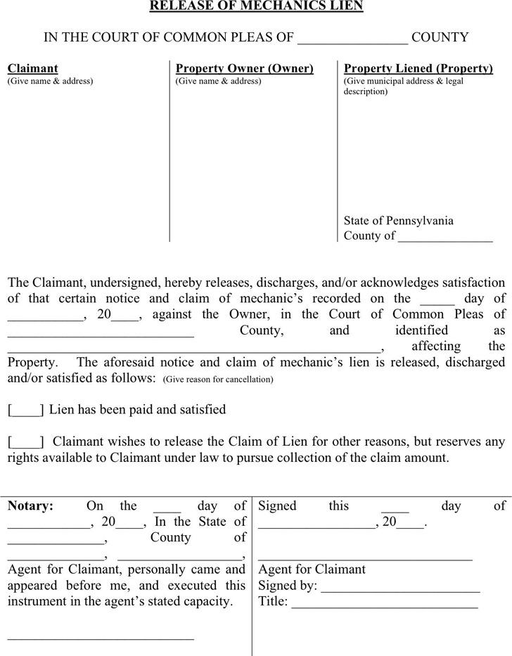 Download pennsylvania lien release form for free tidytemplates pennsylvania mechanics lien release form altavistaventures Images