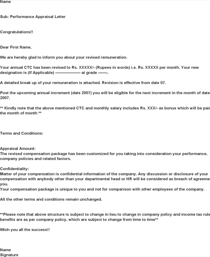 Performance Appraisal Letter From Company Hr Free Download