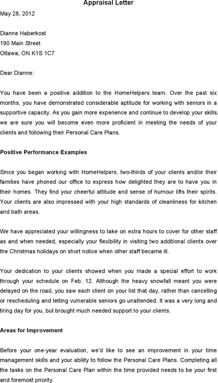 Performance Appraisal Letter Template
