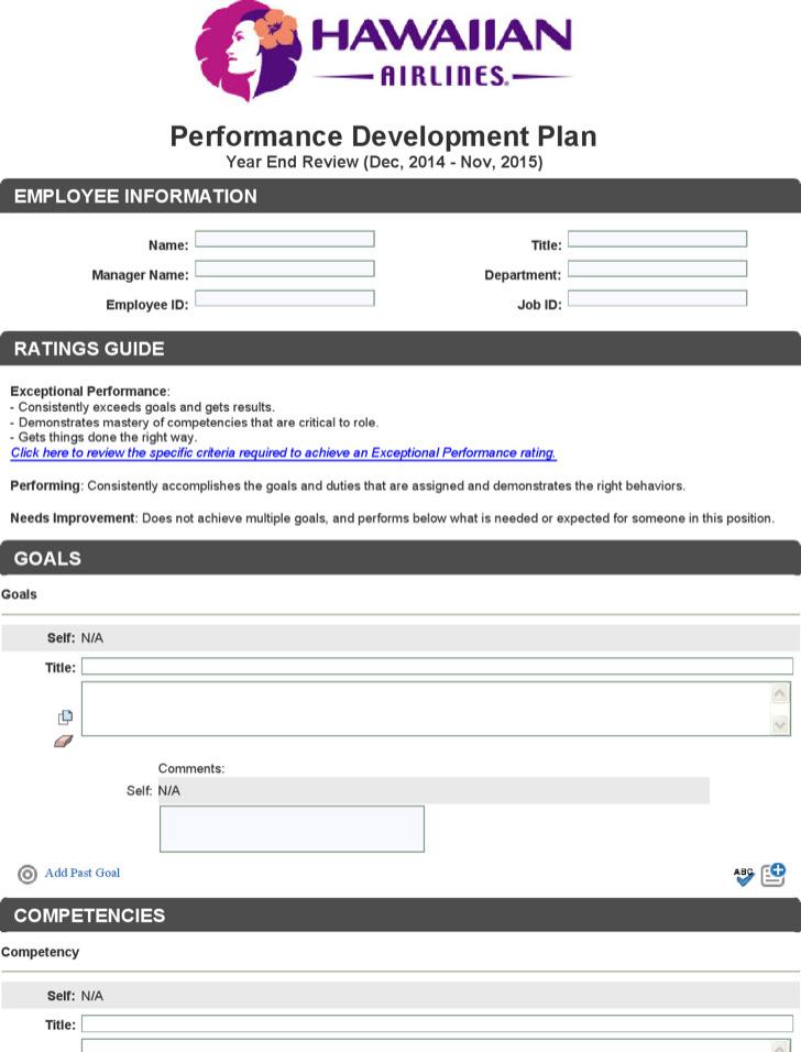 Performance Development Plan Free Pdf Template Download