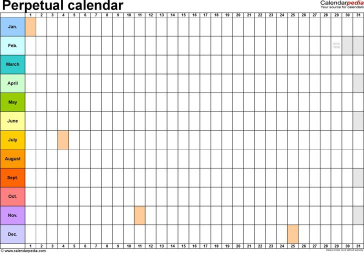 Perpetual Calendar Template 4