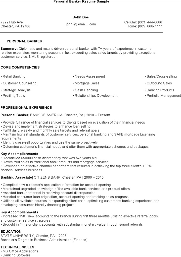 Personal Banker Resume