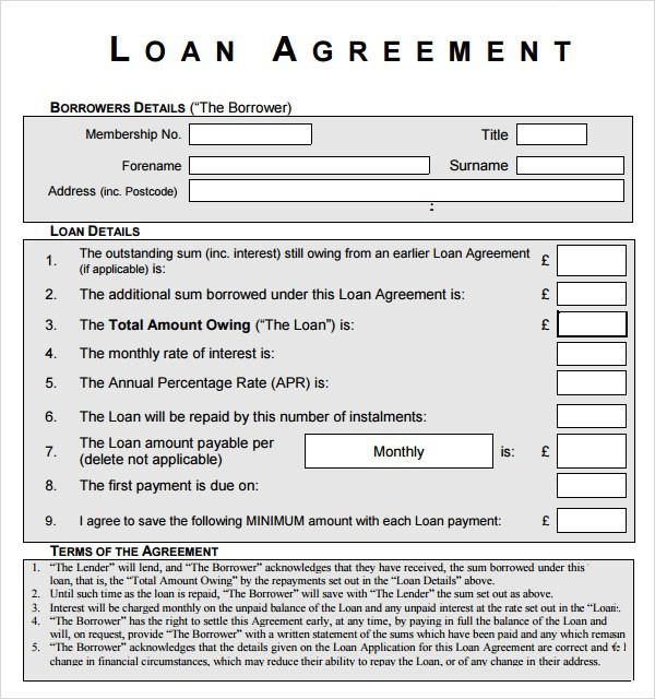 Personal Loan Contract Free PDF Template Download
