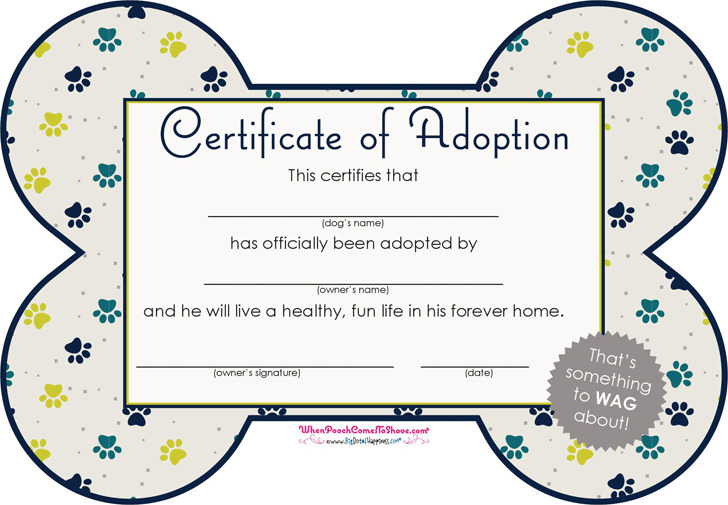 Pet Adoption Certificate