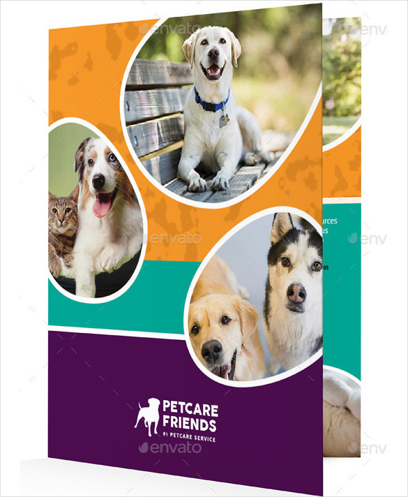 Pet Care Bifold Halffold Brochure Template Illustrator