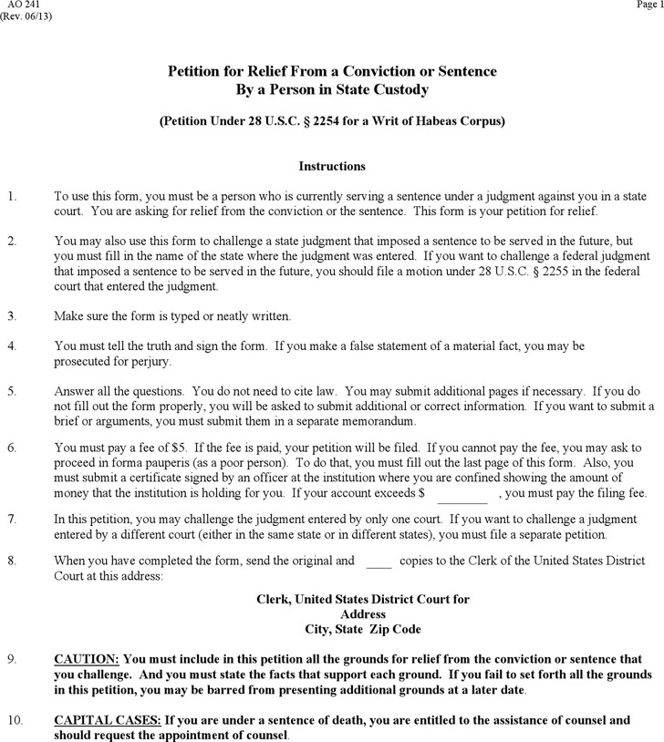 Petition Under 28 U.S.C.2254 for a Writ of Habeas Corpus