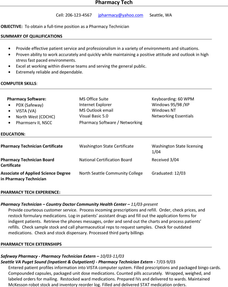Pharmacy Technician Resume