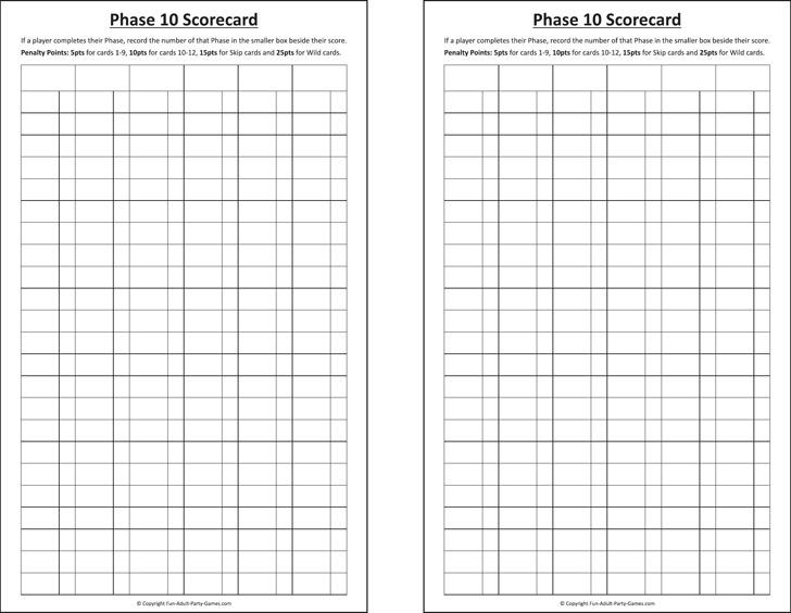Phase 10 Scoresheet 1