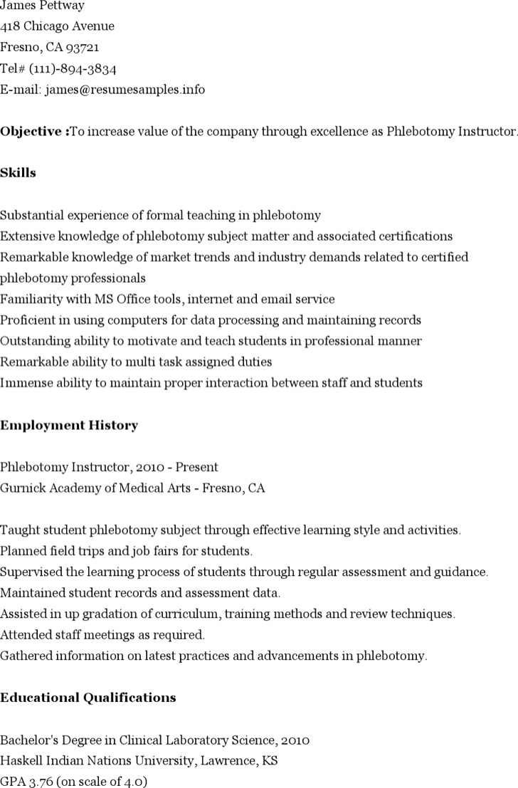5  phlebotomy resume templates free download