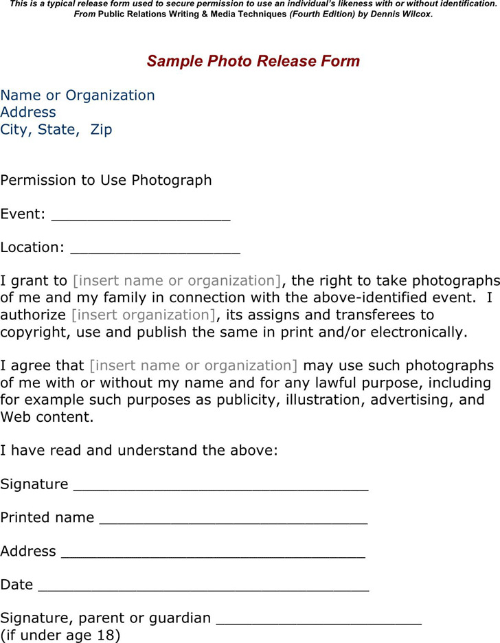 Photo Release Form 1