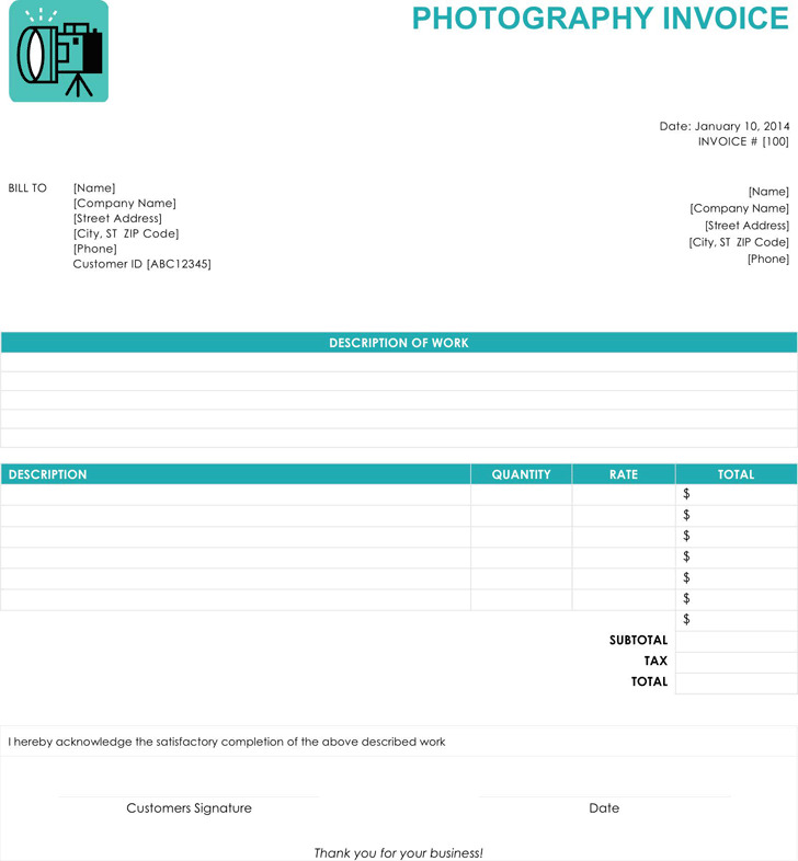 Photography Invoice 1