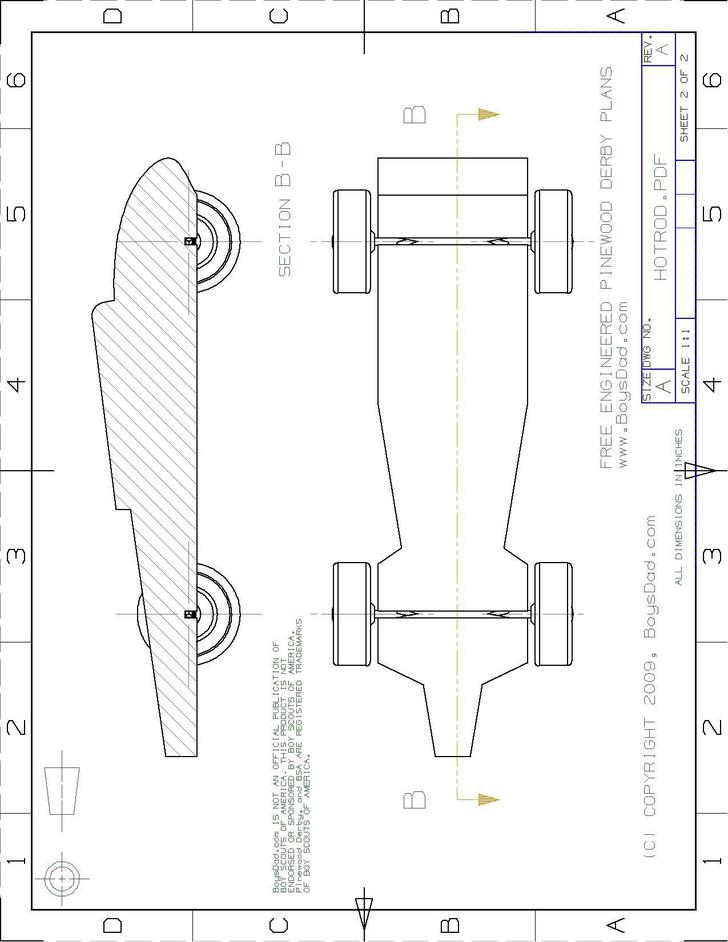 Pinewood Derby Speed Hot Rod Template Free Download