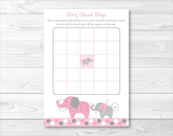 Pink Elephant Baby Shower Blank Bingo Card