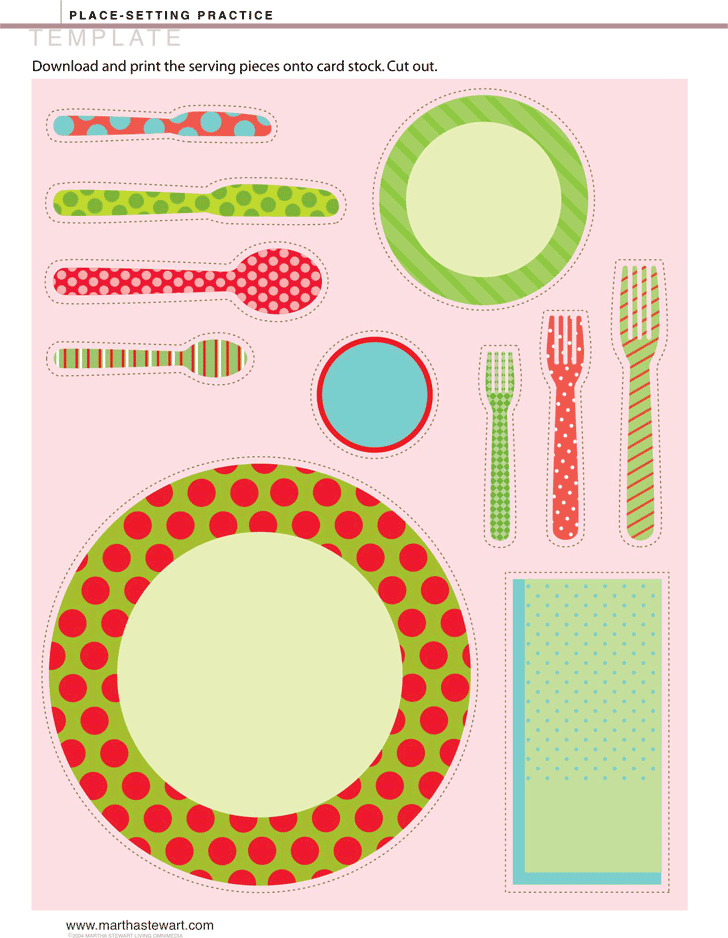 Place Setting Practice Template