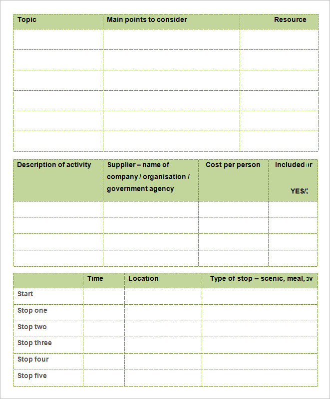Planning Guide Holiday Itinerary Template