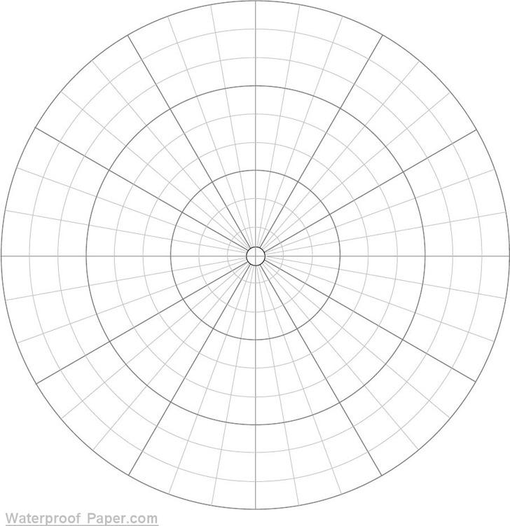 Polar Graph Paper Divisions Each 10 Degrees