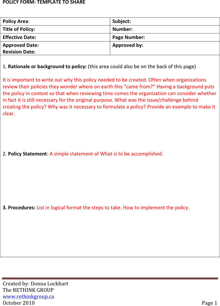 Policy and Procedure Template