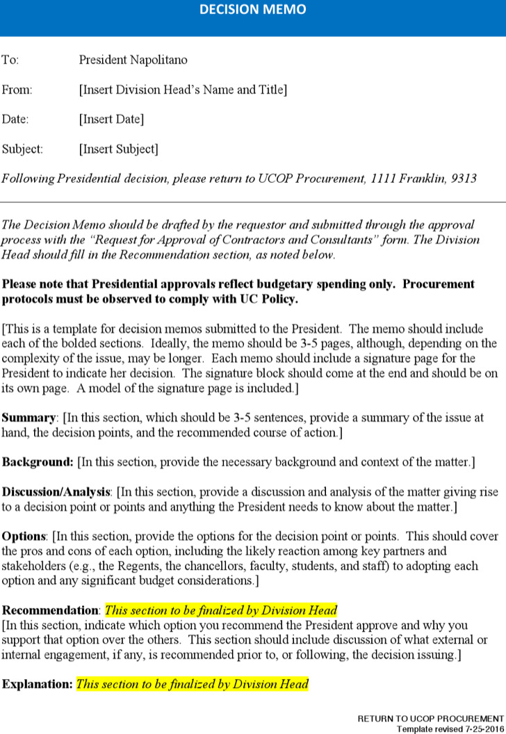 Policy Decision Memo Template Word