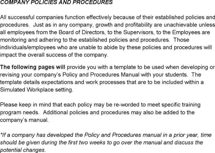 Policy Procedure Template Word