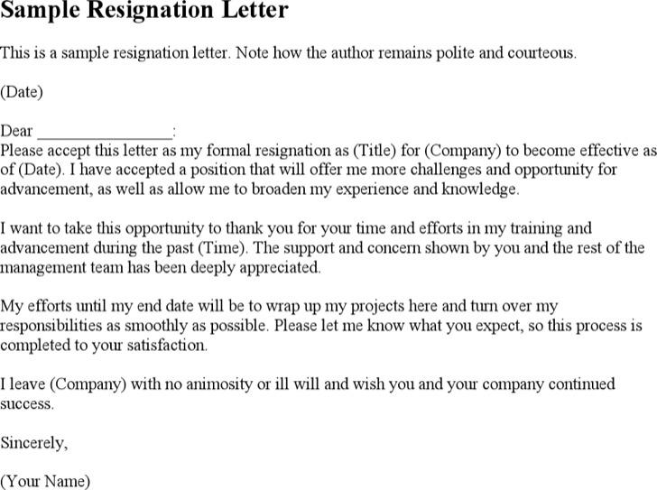Polite Resignation Letter
