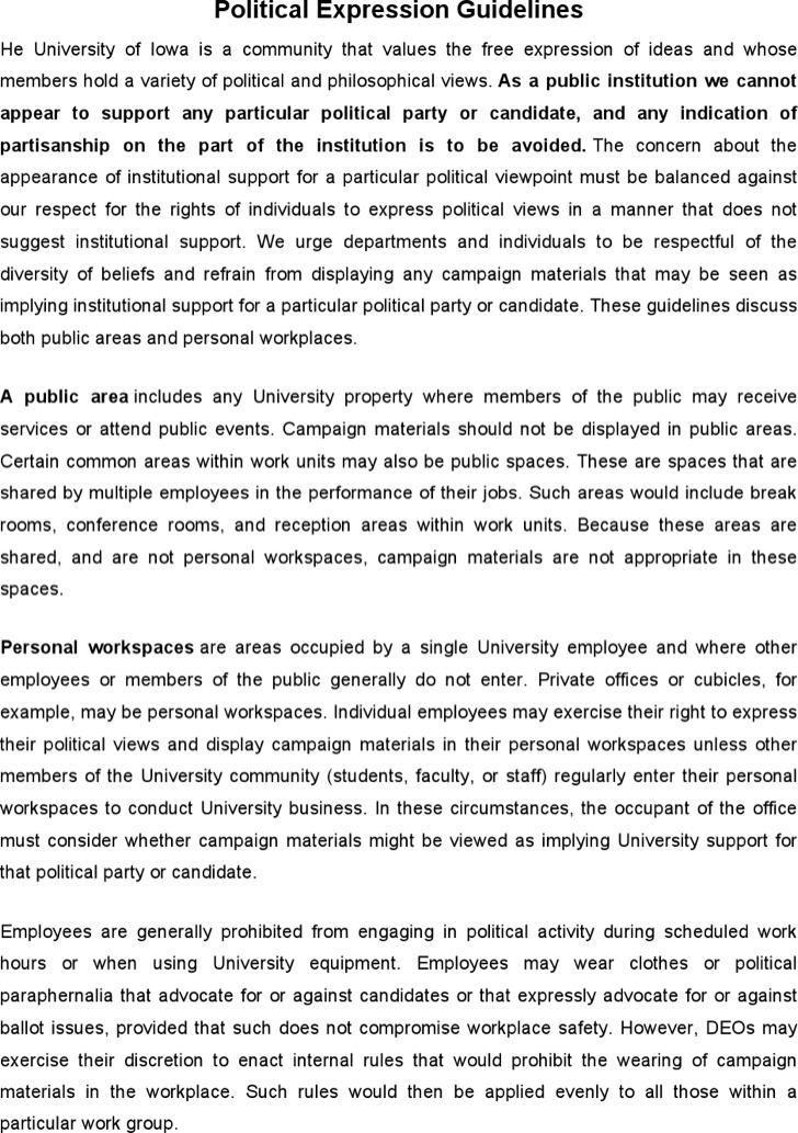 Political Expression Guidelines